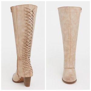 torrid Shoes - Torrid Tan Lattice Extra Wide Calf Knee Boot 10W